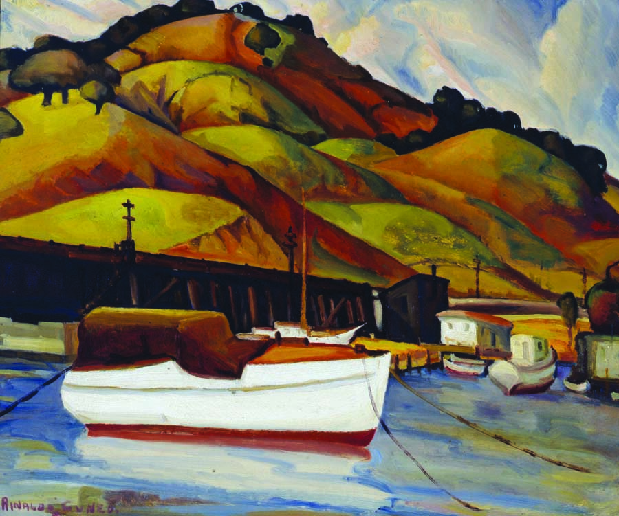 Rinaldo Cuneo. California Hills With White Boat, 1930. Oil on canvas