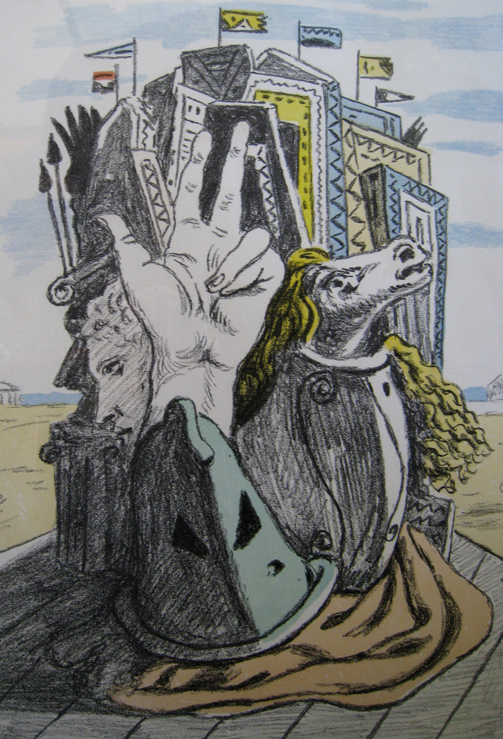 "Giorgio DeChirico. ""Trofeo"", 1970, Original lithograph, signed and numbered."