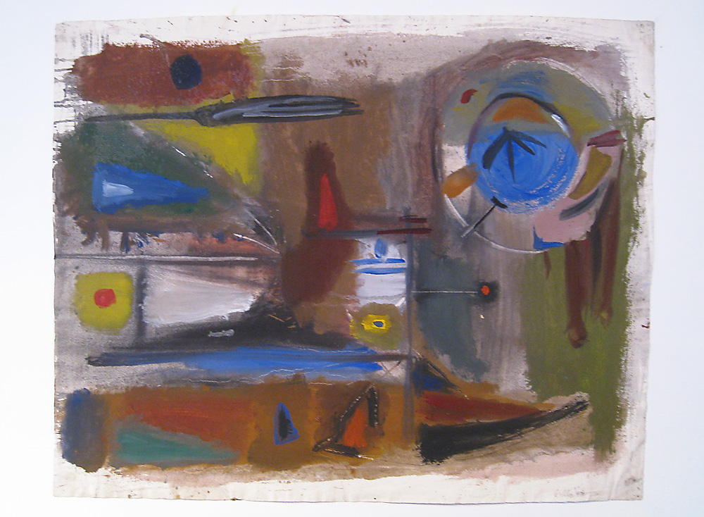 "John Grillo. ""Untitled (No. 4)"", 1947, watercolor and gouache on paper."